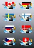 Emblemas del hockey con los indicadores. Fotos de archivo