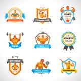 Emblemas del levantamiento de pesas fijados Imágenes de archivo libres de regalías