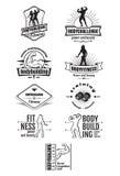 Emblemas del levantamiento de pesas y de la aptitud Fotografía de archivo libre de regalías