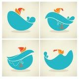 Emblemas del mar stock de ilustración