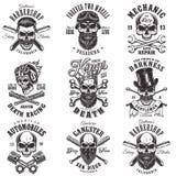 Emblemas del monocromo del cráneo stock de ilustración