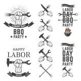 Emblemas del partido del Bbq del Día del Trabajo Foto de archivo