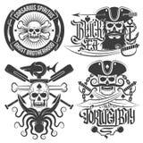 Emblemas del pirata stock de ilustración