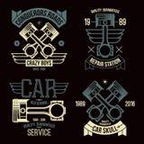 Emblemas del pistón del motor de coche ilustración del vector