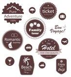 Emblemas del recorrido y de las vacaciones fijados Foto de archivo libre de regalías