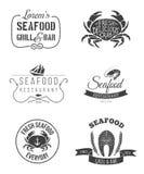 Emblemas del restaurante de los mariscos Fotografía de archivo libre de regalías