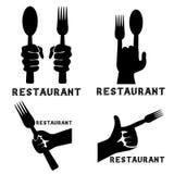 emblemas del vector del vintage del restaurante con las manos Fotografía de archivo