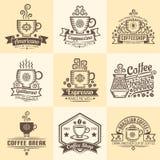 Emblemas del vintage para el café Fotografía de archivo