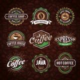 Emblemas diseñados retros del café Foto de archivo