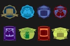 Emblemas divertidos bicolores de la universidad Fotos de archivo libres de regalías