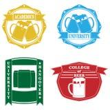 Emblemas divertidos de la universidad Fotos de archivo libres de regalías
