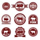 Emblemas do açougue da exploração agrícola de Eco Fotografia de Stock
