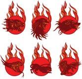 Emblemas do animal do fogo ilustração royalty free
