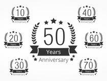 Emblemas do aniversário Fotos de Stock