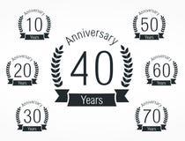 Emblemas do aniversário Imagens de Stock