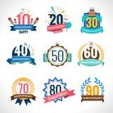 Emblemas do aniversário ajustados Fotos de Stock