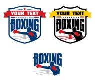 Emblemas do encaixotamento, logotipos e elementos projetados Fotos de Stock Royalty Free