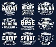Emblemas do esporte de equipe da faculdade do basebol e do rugby Fotografia de Stock