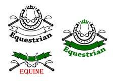 Emblemas do esporte equestre com chicotes e ferraduras Fotos de Stock Royalty Free