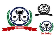 Emblemas do hóquei em gelo com troféu e grinalda Fotografia de Stock