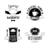 Emblemas do menu do restaurante ajustados Imagens de Stock