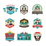 Emblemas do monster truck ilustração royalty free