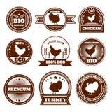 Emblemas do peru da galinha da exploração agrícola de Eco Imagem de Stock Royalty Free