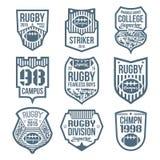 Emblemas do rugby Foto de Stock Royalty Free