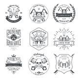 Emblemas do serviço de reparações da garagem dos motociclistas da raça e coleção das etiquetas do competiam de clubes do motocicl Imagens de Stock