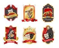 Emblemas do teatro ajustados Imagens de Stock