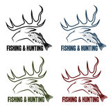Emblemas do vintage da caça e da pesca ajustados Foto de Stock