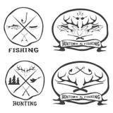 emblemas do vintage da pesca ajustados Fotografia de Stock Royalty Free