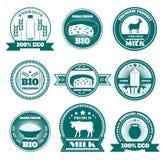 Emblemas dos produtos láteos do leite da exploração agrícola de Eco Foto de Stock