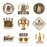 Emblemas dourados da cerveja Fotografia de Stock Royalty Free
