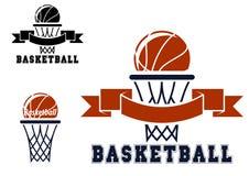 Emblemas e símbolos do basquetebol Fotografia de Stock Royalty Free