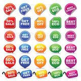 Emblemas e Tag coloridos Fotografia de Stock