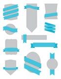 Emblemas e turquesa das fitas Fotografia de Stock