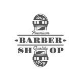 Emblemas, etiquetas, insignias y logotipos del vintage del vector de la peluquería de caballeros en estilo monocromático Imagenes de archivo