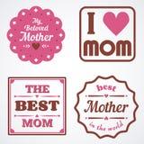 Emblemas felices e insignias caligráficos de las letras de día de madres fijados Elementos del diseño del vector para la tarjeta  Fotografía de archivo libre de regalías