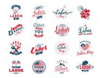 Emblemas felizes do Dia do Trabalhador Imagens de Stock Royalty Free