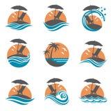 Emblemas fijados de vacaciones de verano Foto de archivo
