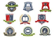 Emblemas heráldicos de la academia, de la universidad y de la universidad ilustración del vector
