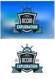 Emblemas heráldicos náuticos azuis ou logotipo Imagens de Stock
