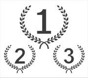 Emblemas ircular del ganador del ¡de Ð Fije a partir de tres ganadores Fotografía de archivo
