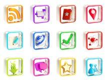 Emblemas móveis da aplicação do ícone do app isolados Fotos de Stock Royalty Free