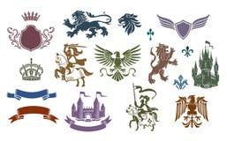Emblemas medievales heráldicos fijados ilustración del vector