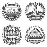 Emblemas monocromáticos da xadrez do vintage ajustados ilustração stock