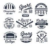 Emblemas monocromáticos del deporte, etiquetas, insignias, logotipos Imagenes de archivo