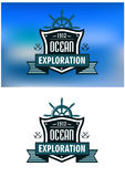 Emblemas o logotipo heráldicos náuticos azules Imagenes de archivo
