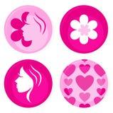 Emblemas ou ícones fêmeas cor-de-rosa do vetor Foto de Stock